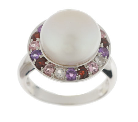 Honora Cultured Pearl 11.0mm Button & Multi-gemstone Sterling Ring