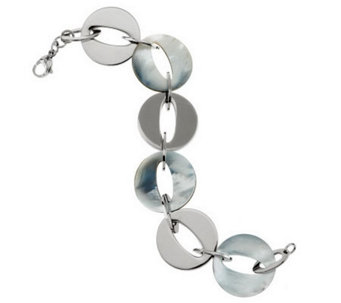 "Honora 7-1/4"" Reversible Mother-of-Pearl Stainless Steel Link Bracelet - J271040"