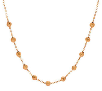 "Vicenza Gold 18"" Hammered Bead Station Necklace, 14K - J273640"