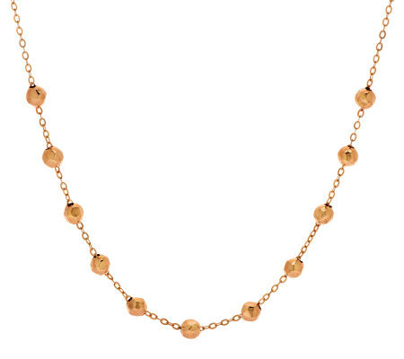 "Vicenza Gold 18"" Hammered Bead Station Necklace, 14K"