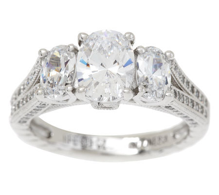 Epiphany Diamonique Oval Three Stone Ring