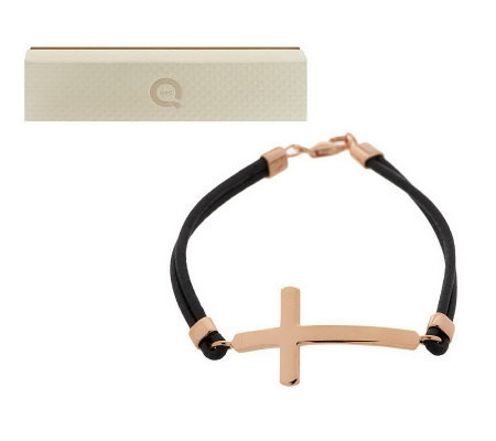 Bronze Horizontal Cross Leather Bracelet by Bronzo Italia