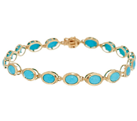 "Sleeping Beauty Turquoise 8"" Tennis Bracelet 14K Gold"