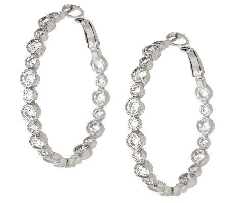 "Diamonique Bubble 1-1/2"" Hoop Earrings, Sterling or 14K Clad"