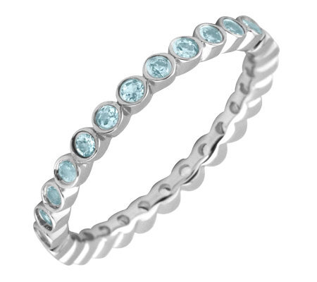 Simply Stacks Sterling Blue Topaz Eternity Stackable Ring
