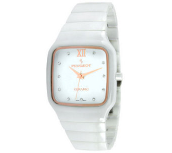 Peugeot Women's Swiss Ceramic Square Case WhiteWatch - J308640