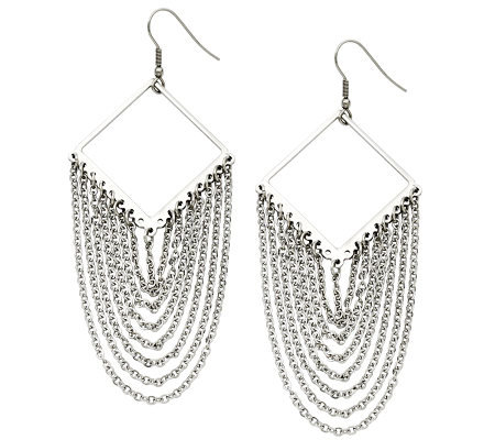 Stainless Steel Diamond Shape with Dangle Chain Earrings