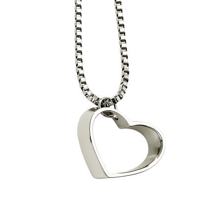 "Stainless Steel Open Heart Pendant with 18"" Chain"