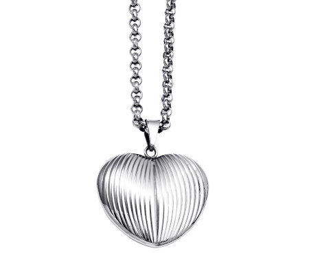"Stainless Steel Textured Heart Pendant with 24""Chain"