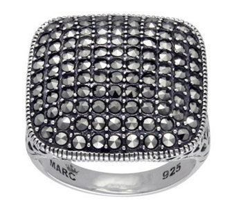 Suspicion Sterling Marcasite Cushion Ring - J311540