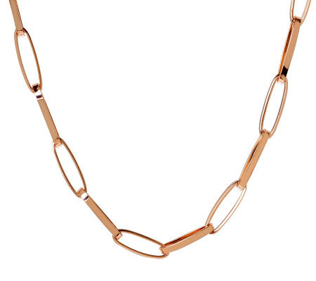 "Bronze 36"" Elongated Oval Link Necklace by Bronzo Italia"