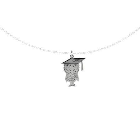 "Sterling Polished Graduation Owl Pendant w/ 18""Chain"