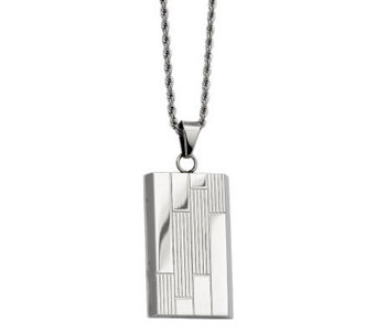 "Forza Stainless Steel Textured Dog Tag Pendantw/ 24"" Chain - J313140"
