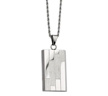 "Forza Stainless Steel Textured Dog Tag Pendantw/ 24"" Chain"