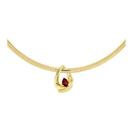 "Pear-Shape Gemstone Slide w/ 18"" 4mm Omega Necklace, 14K Gold"