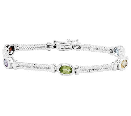 "Sterling 2.50 cttw Multi-Gemstone 7"" Tennis Bracelet"
