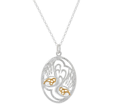 JMH Jewellery Sterling Silver Irish Legends Pendant with Gold Detail