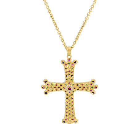 The Elizabeth Taylor Simulated Gemstone Cross Pendant w/Chain
