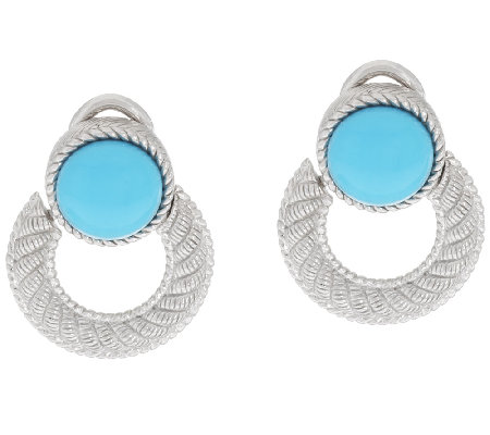 Judith Ripka Sterling Door Knocker Turquoise Earrings