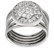 Vicenza Silver Sterling Pave' Crystal Multi-Row Ring