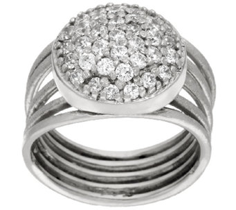 Vicenza Silver Sterling Pave' Crystal Multi-Row Ring - J323840