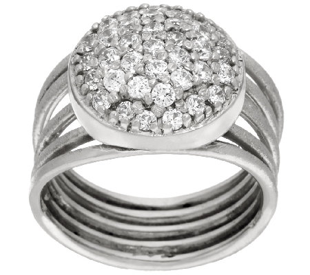Italian Silver Sterling Pave' Crystal Multi-Row Ring