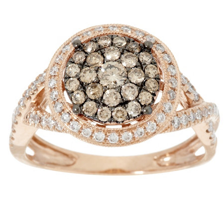 """As Is"" Argyle Diamond 3/4 ct tw Pave' Halo Ring 14K Gold"