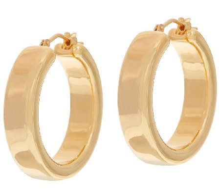 "Oro Nuovo 1"" Polished Round Hoop Earrings, 14K"