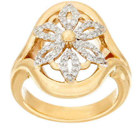 14K Gold 1/3 cttw Diamond Open Work Flower Ring