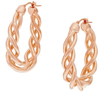 """As Is"" Oro Nuovo 1-1/2"" Open Twist Oval Hoop Earrings, 14K - J325040"