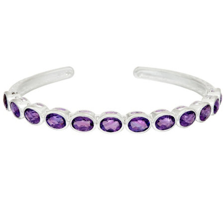 """As Is"" Sterling Silver Gemstone Flexible Cuff"