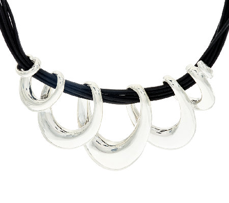 Sterling Silver Polished Ribbon Necklace w/ Black Cord by Or Paz
