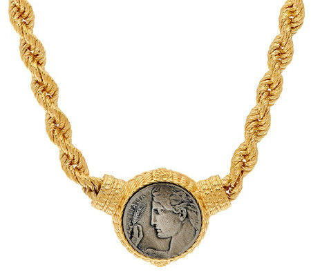 "Judith Ripka 14K Clad 18"" Verona Coin Station Rope Necklace"