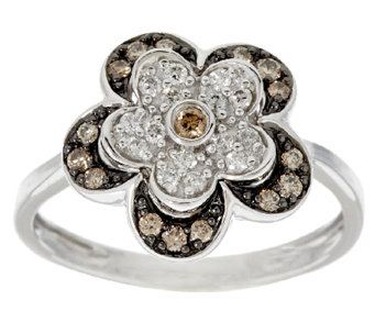 """As Is"" Argyle Diamond 3/10 ct tw Flower Ring, Sterling - J327240"