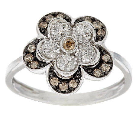 """As Is"" Argyle Diamond 3/10 ct tw Flower Ring, Sterling"