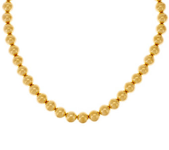 """As Is"" Oro Nuovo 18"" Round Bead Magnet Clasp Necklace, 14K - J327940"
