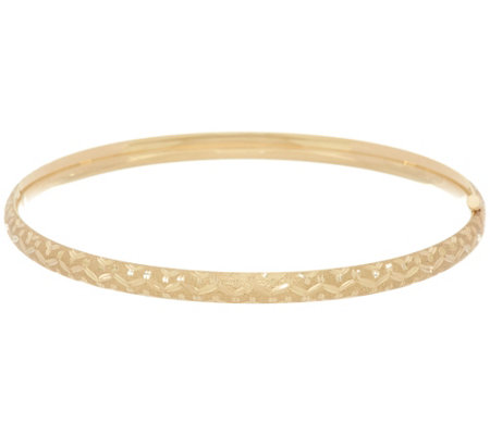 "EternaGold 7-1/2"" Tribal Pattern Bangle Bracelet 14K Gold, 4.7g"