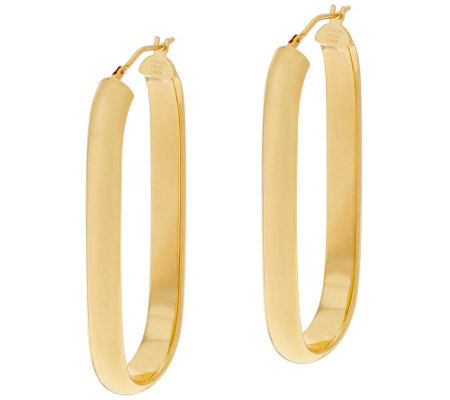 """As Is"" Bronze 2"" Linear Oval Hoop Earrings by Bronzo Italia"