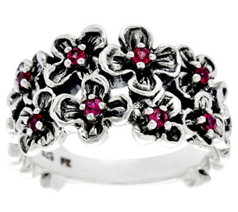 Sterling Silver Precious Gemstone Flower Ring by Or Paz - J330240