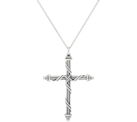 Peter Thomas Roth Sterling Ribbon Cross Pendant Necklace