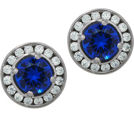 Diamonique & Simulated Gemstone Stud Earrings, Sterling