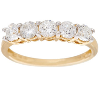 """As Is"" 1.00 ct tw 5 Stone Diamond Band Ring, 14K Gold by Affinity - J332240"