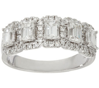 halo 5 stone emerald cut diamond band ring 130cttw 14k affinity - Qvc Wedding Rings