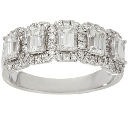 Halo 5-Stone Emerald Cut Diamond Band Ring, 1.30cttw, 14K, Affinity