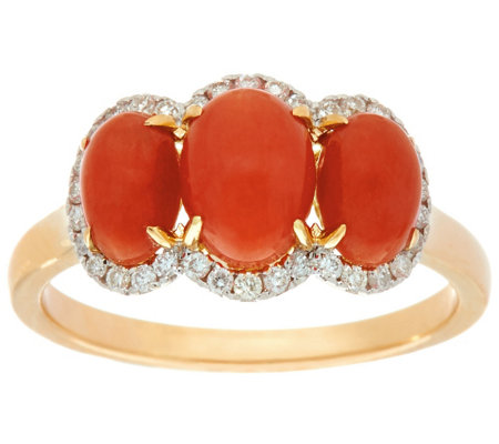 Red Coral & Diamond 3-Stone Ring 14K Gold 1/7 cttw
