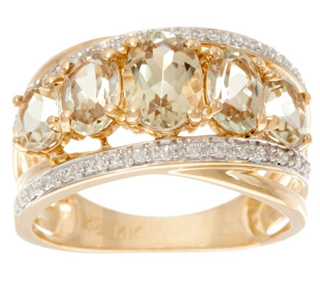 Csarite Oval 5-Stone & Diamond Wide Band Ring, 14K 2.40 cttw