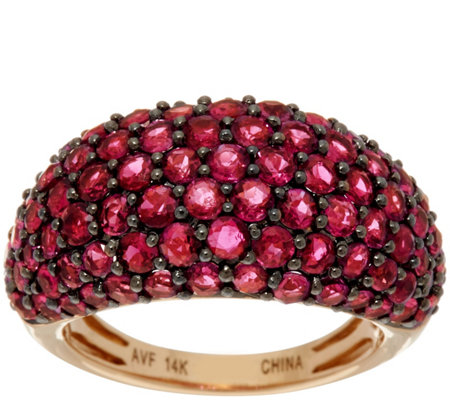 Pave' Thai Ruby Wide Domed Ring 14K Gold 4.50 cttw