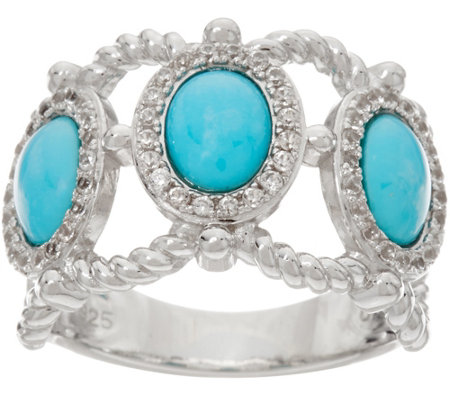 3-stone Sleeping Beauty Turquoise Wide Band Sterling Ring