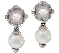 Judith Ripka Sterling Silver Rose Quartz & Freshwater Pearl Earrings - J348840