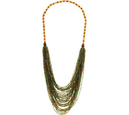 "Joan Rivers Shimmering Layered Seed Bead 31"" Necklace"